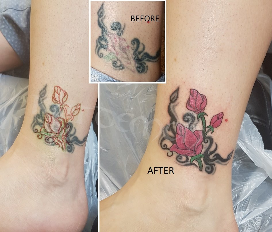Roses cover up tattoo