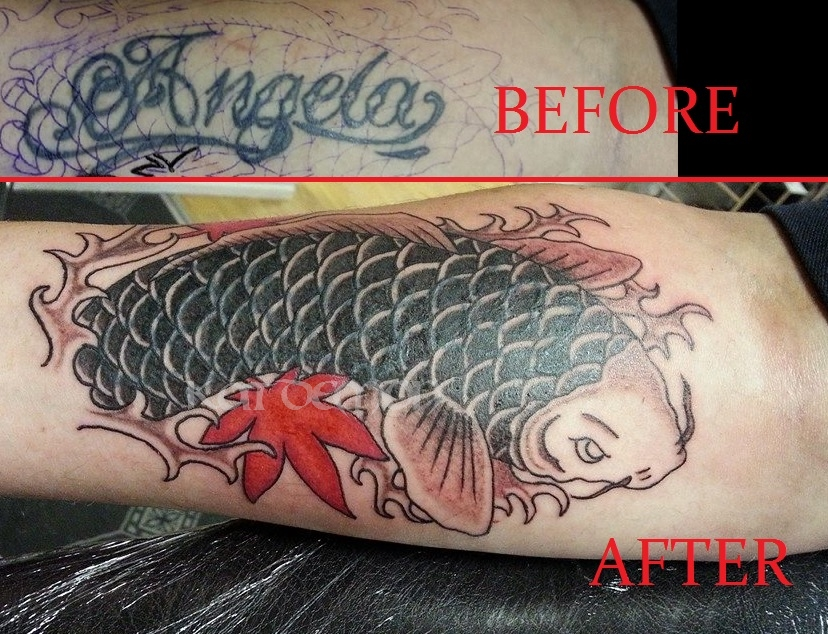 koi coverup forearm tattoo