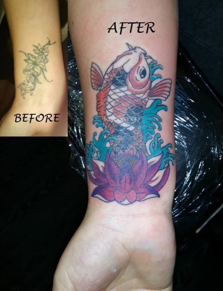 koi coverup on wrist tattoo
